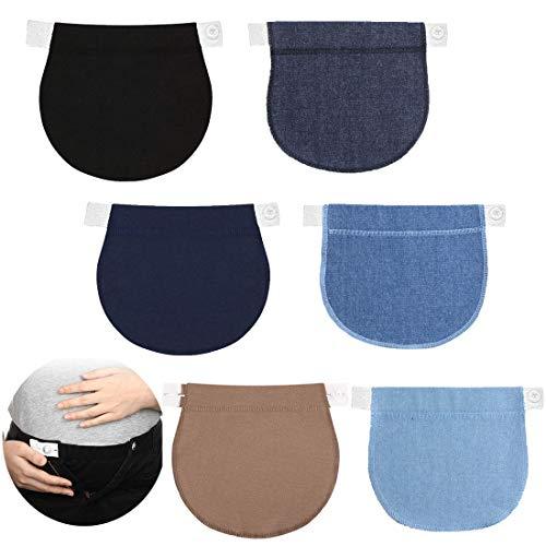 Simoda 6 Stück Schwanger Hosenerweiterung Einstellbare Taillen Verlängerung Schwangerschaft Bund Extender Elastisch Schwangerschaft Hosen Extender für Schwangere,6 Farben (Mehrfarbig)