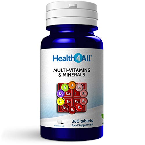 Multi-Vitamins & Minerals One a Day 360 Tablets 100% RDA. Made by Health4All