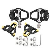 RiToEasysports Pedales autobloqueantes con calas, reparación de Pedales de Bicicleta de Carretera para Ciclismo