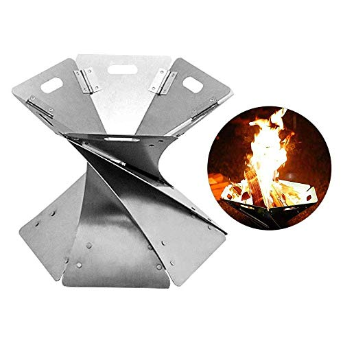 %38 OFF! HEWEI Outdoor Fire Pits Foldable Stainless Steel fire Pit Durable Space Saving and Easy to ...