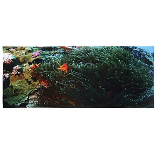 Papel pintado de acuario Decoración de pecera Adhesivo de PVC Patrón de peces pequeños de coral para peceras Paisajismo Tamaños opcionales para acuario Paisaje(91 * 50cm)