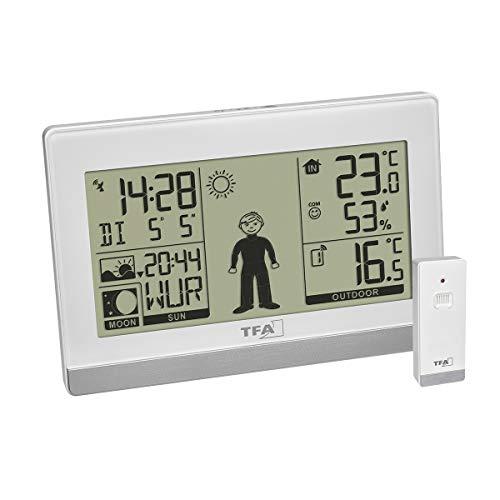TFA Dostmann Digitale Wetterstation Weather Boy, 35.1159.02, Funk, mit Außensensor, Innen-und Außentemperatur, Mondphase, weiß