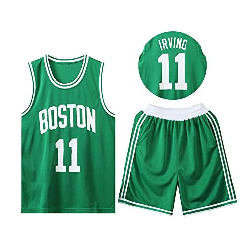 HAZYJT Traje de Baloncesto de Jersey - Boston Celtics - # 11 Kyrie Irving Sudadera y Pantalones Transpirables sin Mangas, Trajes para Hombres y Mujeres, Green-XL(165~170cm)