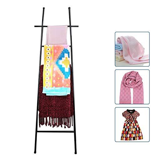 M-TOP Handdoekladder, roestvrij staal, vrijstaand, handdoekhouder, badkamer zonder boren, handdoekenrek ladder badkamer met 6 handdoekstangen, decoratieladder, kledingrek
