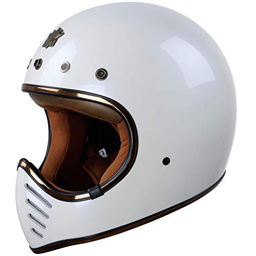 ROYAL H01 Full face Motorcycle Helmet - DOT Approved - Unisex, Classic, Elegant Design (Gloss White,...
