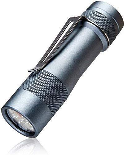 DYB 【Mejorado】 Linternas, linterna inteligente 18650 Anduril Firmware triple LED con interruptor de cola 2800 lúmenes 200 metros máximo (color gris, tamaño: 2.55 x 9.25 cm).