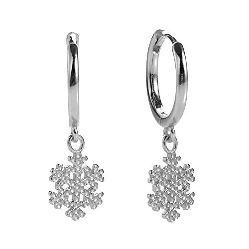 Pendientes Mujer Pendientes Colgantes con Colgante De Copo De Nieve De Plata De Ley 925 Pendientes Bijoux para Mujer Bucles Circulares para Mujer Circonita Cz Jewelry Silver