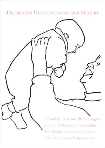 Wenskaart voor de geboorte met betoverende spreuk, roze • ook direct verzending met uw tekst inlegger • vrolijke wenskaart, cadeaukaart voor de geboorte om de jonge familie te feliciteren zakelijk & privé