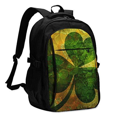 Travel Laptop Backpack, Vintage Ireland Flag with Shamrock Travel Laptop Backpack College School Bag Casual Daypack with USB Charging Port
