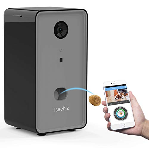 Iseebiz Smart Pet Camera, [Upgraded] Dog Camera Treat Dispenser, 2-Way Audio, 1080P Night Vision Camera, App Remote Tossing, Multi Devices Login, Compatible with Alexa, Play with Your Dogs and Cats