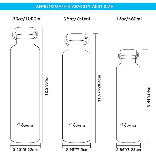 Ryaco Bottiglia Termica per Acqua in Acciaio Inox 560ml 750ml 1000ml, Senza BPA, Borraccia Sportiva Sottovuoto a Doppia Parete, Borracce Termiche per Bambini, Scuola, Ufficio, Sport, Palestra (Nero)