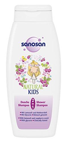Sanosan Natural Kids 2-in-1 douche- en shampoo voor kinderen, milde kindershampoo, verpakking van 3 stuks (3 x 250 ml)
