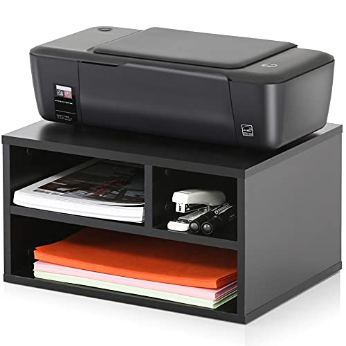 FITUEYES Wood Printer Stands with Storage, Workspace Desk Paper Organizers, Desktop 2-Tier Wooden Printer Riser/Shelf with 3 compartments for Home Office, Black, DO304001WB