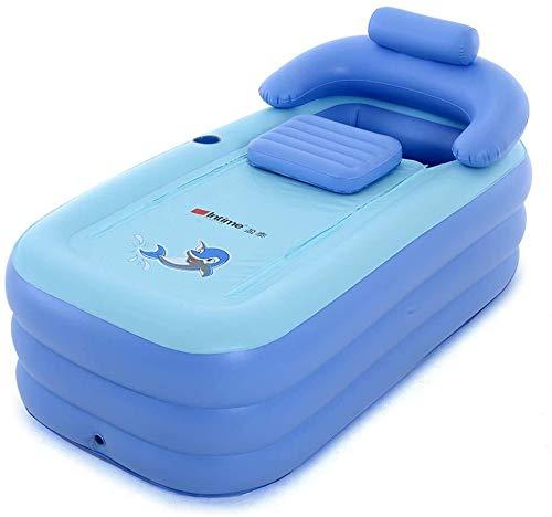 Bañera hinchable de PVC, color azul, plegable, con compartimento para almacenamiento y...