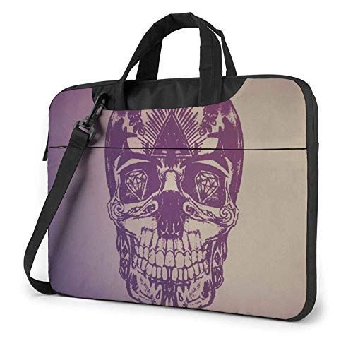 XCNGG Laptop Bag Carrying Laptop Case, Colorful Skull Computer Sleeve Cover with Handle, Business BriefcaseBag for Ultrabook, MacBook, Sony, Notebook 15.6 inch