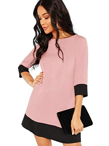 Floerns Women's 3/4 Sleeve Boat Neck Color Block Tunic Dress Pink S