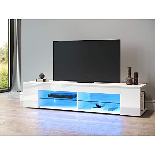 SONNI TV Schrank TV Lowboard LED Weiss,12-LED-Farben,Glasböden,Fehrnser Tisch 135 cm breit