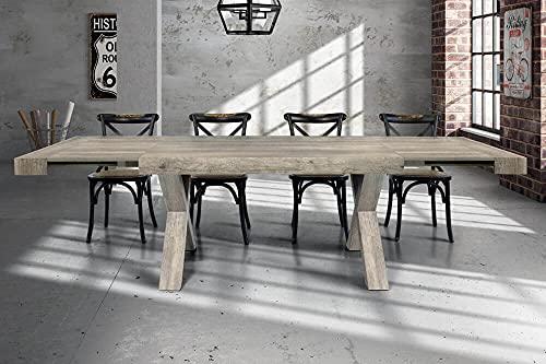 Milani Home s.r.l.s. Tavolo da Pranzo Moderno di Design Allungabile Cm 90 X 180/230/280 Invecchiato Grigio per Sala da Pranzo Cucina Ristorante