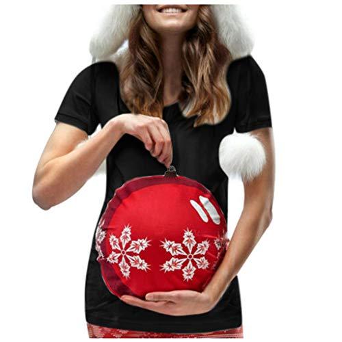 Likecrazy Umstandsmode Damen Weihnachten Umstandstop Kurzarm O-Ausschn