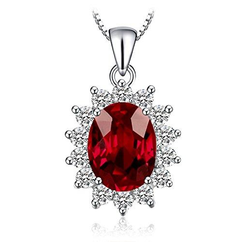 JewelryPalace Kate Prinzessin Diana 2.5ct Natürliche Granat Halo Anhänger Halskette Pure 925 Sterling Silber 45 Cm