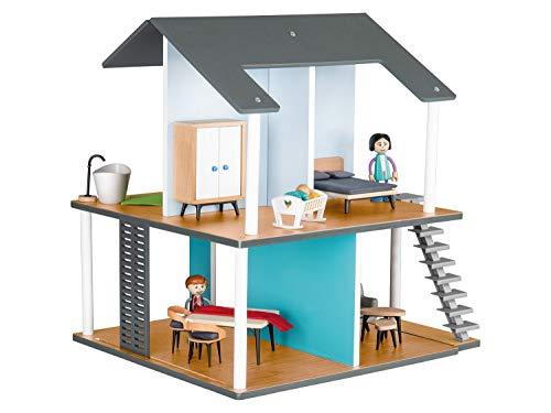 Playtive Junior PuppenhausSet Spielzeughaus Holz mit Möbel Puppenstube 24teilig