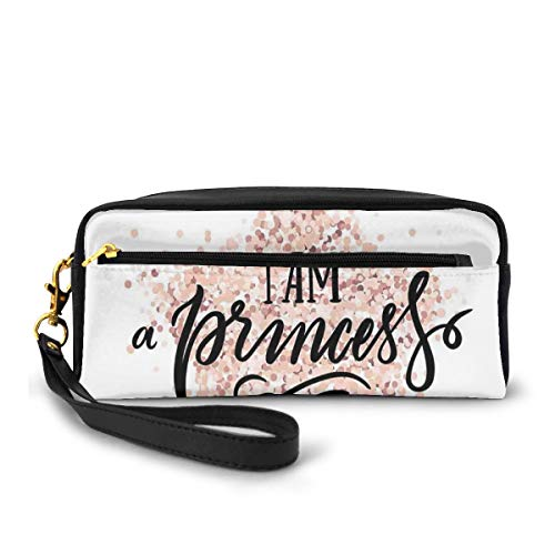 Pencil Case Pen Bag Pouch Stationary,Modern Calligraphic Quote on Dotted Background Hand Lettering,Small Makeup Bag Coin Purse