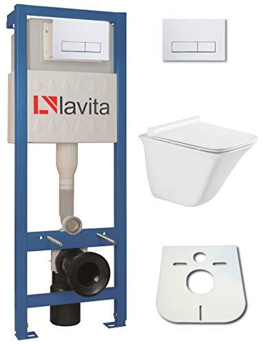 WC-Set Vorwandelement inkl. Drückerplatte + Wand WC Parys ohne Spülrand + WC-Sitz mit Soft-Close-Absenkautomatik (RW)