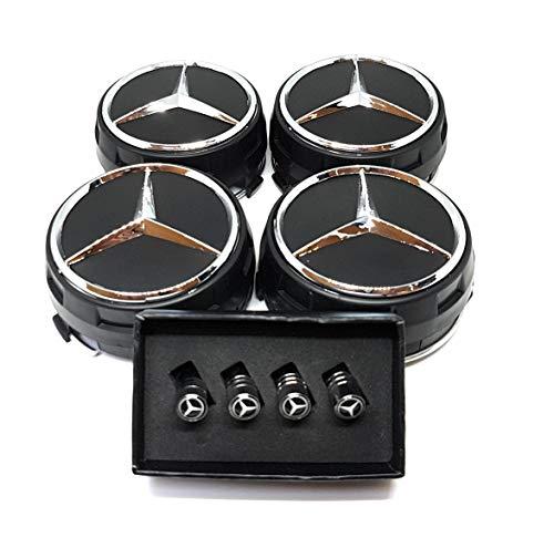 UG 4 Nabenkappen Mercedes-Logo, 75 mm, AMG - Klasse A B C E CLA CLK M ML S - Alufelgen