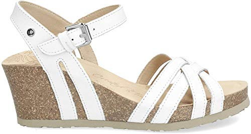 Panama Jack Damen Vera Basics Offene Sandalen mit Keilabsatz, Weiß (White), 39 EU