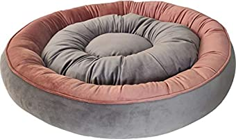 Mellifluous Cat and Dog Reversible Pet Bed, Peach-Grey