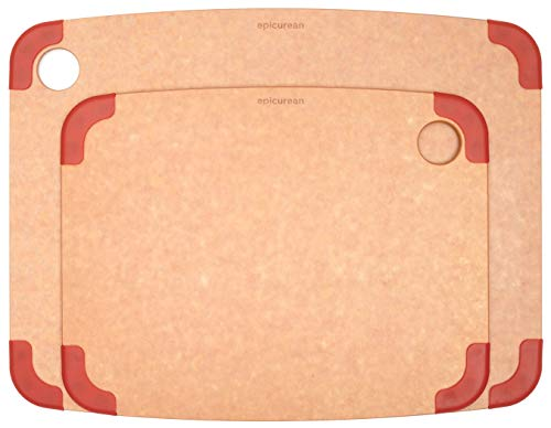 Epicurean Nonslip Cutting Board Set, Two Pack - 15' X 10' and 11.5' X 9' (Natural/Red), Durable, Nonporous, Knife Friendly, Reversible, Dishwasher Safe, Eco-Friendly, Made In USA