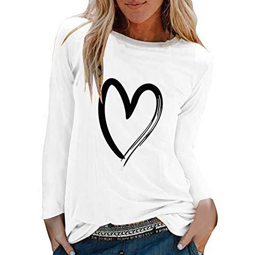 2020 Nueva Camiseta de Manga Larga con Estampado de Amor para Mujer, Camiseta Holgada Informal con Cuello Redondo, Camiseta Holgada Informal para Mujer