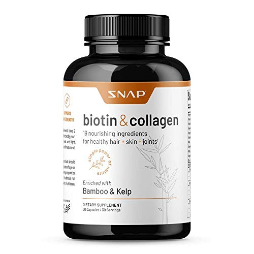 Collagen Biotin Capsules Hair Nails and Skin Vitamins for Women, Supplements for Hair Growth & Joint Support, Vitamins for Women Collagen and Biotin, Keratin, Vitamin B7, Bamboo, Kelp (60 Capsules)