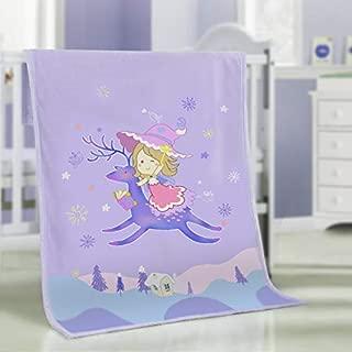 Girl Riding Deer Thickening Baby Flannel Blanket 100 x 140CM, Double Layer Sleeping Blanket for Kids,Thick Toddler Newborn Flannel Blanket, Throw Blankets for Boys Girls Cradles, Soft Warm Cozy 4 Seasons Fleece Blanket