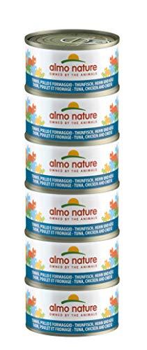almo nature Mega Pack -Tonno, Pollo e Formaggio Cibo Umido per Gatti Adulti 100% Naturale. Confezione da 6 lattine x 70g