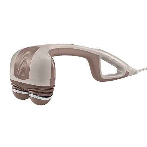 HoMedics Percussion Action Massager with Heat | Adjustable Intensity , Dual Pivoting Heads | 2 Sets Interchangeable Nodes , Heated Muscle Kneading for Back , Shoulders , Feet , Legs , & Neck