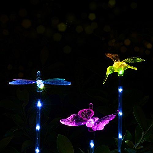 Doingart Garden Solar Lights Outdoor - 3 Pack Solar Stake Light Multi-Color Changing LED Garden Lights, Decorative Lights, Solar Powered Stake Light (Hummingbird Solar Garden Light)