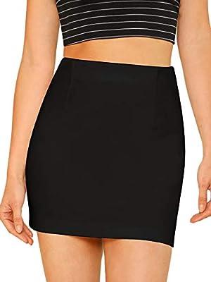 SheIn Women's Basic Stretchy Bodycon Pencil Tube Short Mini Skirt Black Small