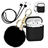 Silicone Case Cover with Cute Pompom Ball Keychain Compatible for Apple AirPods Charging