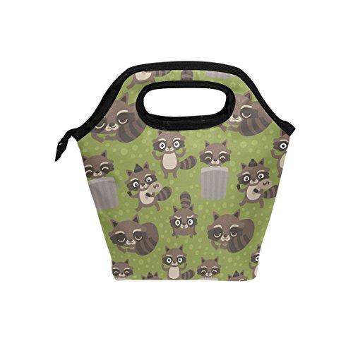 Dessin animé mignon Raton laveur animaux Vert repas isotherme Sac fourre-tout pour femme Lunch Box Cooler avec fermeture à glissière pour adultes/enfants filles, garçons, hommes