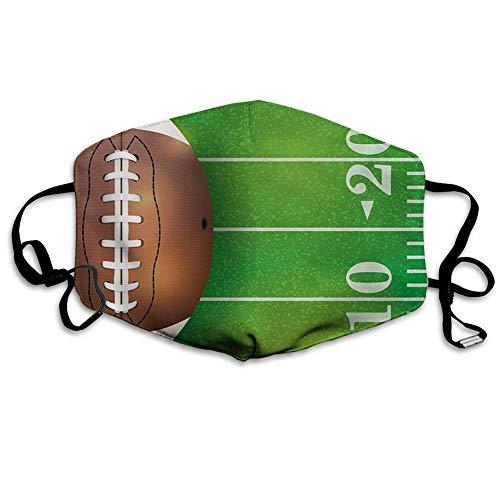 Facial Decoration,Jungenzimmer, American Football Field Und Ball Realistic Vivid Illustration College, Grün Braun Weiß Sicherheit Staubdichter Schal,18x11cm