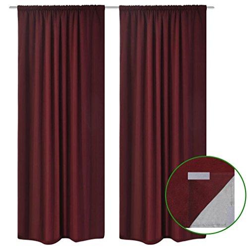 Lingjiushopping Rideau occultant à double couche - 140 x 245 cm - 100 % polyester - Couleur : rouge foncé