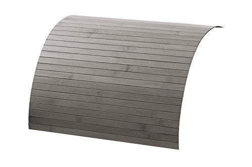 DE-COmmerce Couch Holz Ablage aus Bambus Sofatablett auf rutschfestem Latex, Flexible Tablett Ablage Sofa für mehr Ordnung und Sauberkeit I Couch Tablett für Armlehne Steel 20 x 40 cm