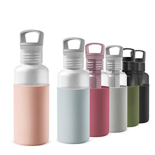 HYDY Botella de Agua 590ml, Material Ecológico Tritan, Sin BPA, con Infusor de Té, Color Translúcido - Latte