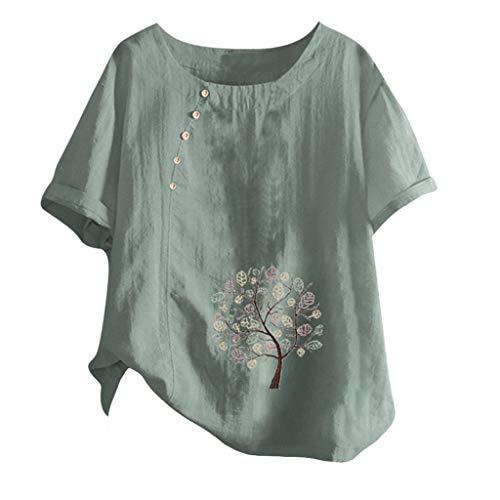 MOTOCO Damen Modisch Bedrucktes T-Shirt Lässige Lose O-Ausschnitt Kurzarm Tops Bluse Übergröße(3XL.Grün)