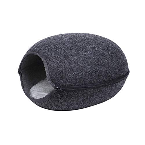 Rong - Cuccia per gatti semicircolata in feltro, con chiusura lampo rimovibile