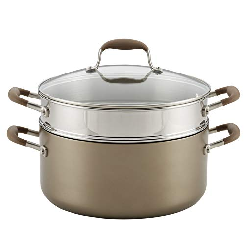 Anolon Advanced Umber Dutch Oven with Steamer Insert and Lid, 3 Piece, Light Brown
