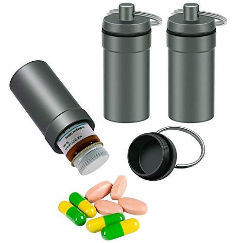 3 Packs Waterproof Aluminum Pill Fob Container, EFFIET Keychain Nitro Bottle Holder Earplug Case Nitroglycerin Pill Case Emergency Stash Jar for Medicine Organizer Dispenser (3 Packs Matt Finished)