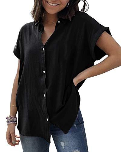 Womens Button Down Shirts Short Sleeve Linen Cotton Blouse V Neck Basic Simple Work Shirt Plain Tops (XX-Large, Black)