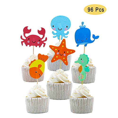 NEPAK 96 Stück Geburtstag Tortendeko,Ocean Sea Animal Cupcake Toppers für die Themenparty Under the Sea, Kinder Geburtstag Party Deko